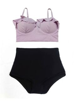 Lavender Midkini Top and Black High Waisted Waist by venderstore