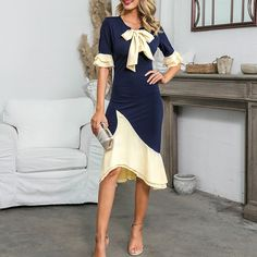 Color : Navy Material : Polyester Neckline : O-Neck Style : Sexy Occasion : Party The post Sexy Ruffled Tie-Neck Mermaid Patchwork Party Dress appeared first on TD Mercado. Party Dresses For Women, Dresses For Work, Office Dresses, Blue Plus Size Dresses, Tie Dye Fashion, Women's Fashion Dresses, Elegant Dresses, Knit Dress, Bodycon Dress