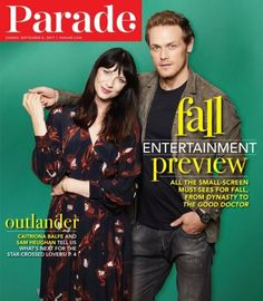 Caitriona Balfe as Claire Randall Fraser and Sam Heughan as Jamie Fraser of Starz-Outlander Season 3 Voyager - Parade magazine - August, 2017