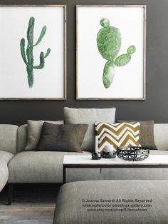Cactus acquerello su tela set 2 Cactus Botanical Decor