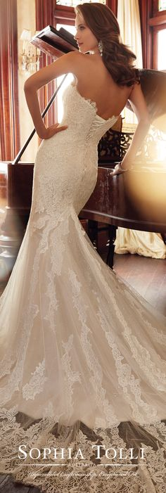 Sophia Tolli Spring 2017 Wedding Gown Collection - Style No. Y11728 Jacqui - strapless tulle and lace fit and flare wedding dress