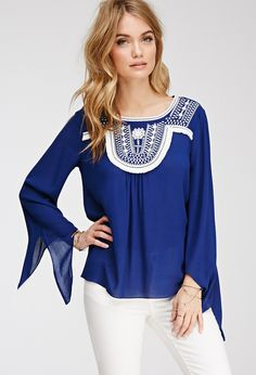 FOREVER 21 Fringed Embroidery Peasant Top