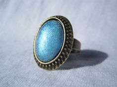 Oval Nail Polish Ring  Electric Blue by simplyborncrafty on Etsy, $7.99