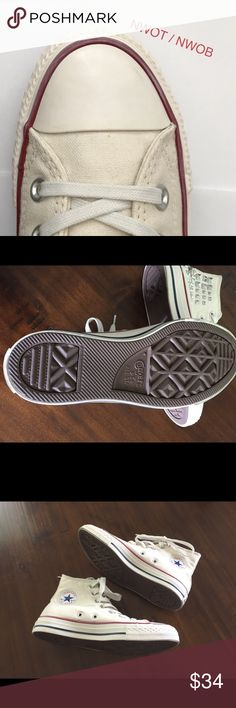 Converse Cream Chuck Taylor Studded Hi Top's NWOT/ NWOB / Never Worn However Have Some Black Marks(See Pictures) The Bottoms & 95% Of The Shoes Are Immaculate,Was Going To Keep So Got Rid Of Box & Prob Rubbed Against Other Things In Closet ☹️ These Are Converse Womens Cream Chuck Taylor Studded Hi Top's Canvas Stitched detail Iconic rubber toe panel Metal eyelets All Star logo on side panel & heel Converse is notorious for running big, suggested half size smaller than what you normally wear…