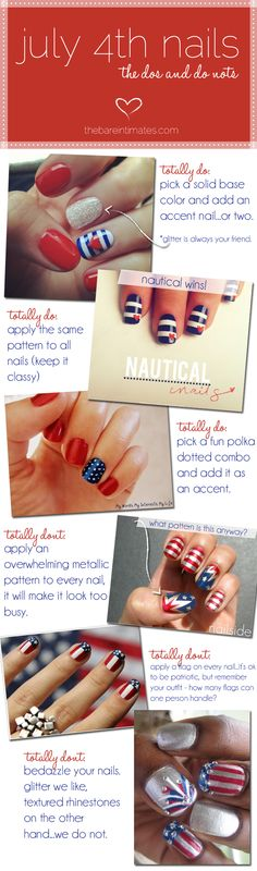 July 4th Nails - The Bare Intimates Lots of 4th of July Nail Ideas....4th  of July  and Patriotic  Totally agree with the dos and don'ts!!