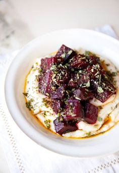 I recently discovered the amazingness that is celery root puree.  It tastes like such an indulgent treat, but is actually so healthy! Paired here with earthy, herbed beets and olive oil, it takes o...