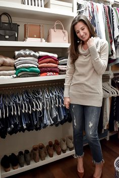 My Closet Tour and Tips for Keeping an Organized and Beautiful Wardrobe Step-by-step tips for organizing your closet and keeping it that way, including how to style it for your personality and tips for perfectly hung jeans! Jean Organization, Girls Closet Organization, Clothing Organization, Clothing Racks, Clothes Storage, Closet Ideas, Wardrobe Organisation, Shoe Storage, How To Fold Jeans