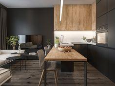 Unique interior design for small kitchen 3 Kitchen Room Design, Modern Kitchen Design, Kitchen Layout, Home Decor Kitchen, Interior Design Kitchen, Home Kitchens, Simple Interior, Black Kitchens, Apartment Kitchen