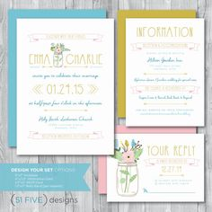 PRINTABLE Wedding Invitation Set [Mason Jar + Flowers], Customizable Wedding Invitation Set
