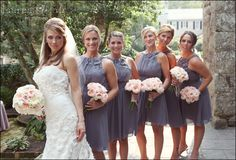 Bridesmaids gray dresses pink yellow red orange bouquets gray bridesmaid dresses and soft pink peonies would be perfect if the flowers were yellow mightylinksfo