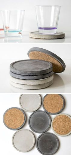 The edges of these circular modern concrete coasters are slightly raised to provide extra support and added dimension. These 7 sets of modern concrete coasters are cleverly designed in style, and protect any surface in your home from stains and spills. Cement Art, Concrete Cement, Concrete Furniture, Concrete Crafts, Concrete Design, Concrete Planters, Polished Concrete, Urban Furniture, Motif Hexagonal