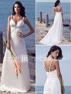 Sheath / Column Straps Sweep / Brush Train Stretch Satin Wedding Dress with Beading by LAN TING BRIDE® 2018 - $129.99