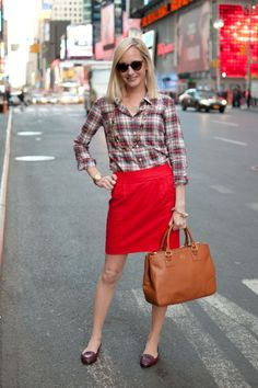 Flannel Shirts, Red Scalloped Skirts, and TB Bags | Kelly in the City