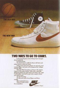 Vintage Sneakers, Classic Sneakers, Vintage Shoes, Nike Poster, Vintage Nike, Vintage Advertisements, Vintage Ads, Old Nikes, Shoe Advertising