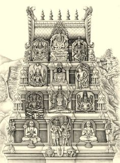 Divyakala showcases a unique blend of classical Indian art through the eyes of US born artist Drdha Vrata Gorrick. Indian Temple Architecture, Art And Architecture, Hindus, Indian Gods, Indian Art, Temple Drawing, Indian Illustration, Lord Vishnu Wallpapers, Temple Design