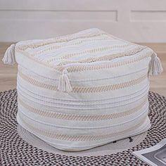 Cheap Cushion Covers, Foot Rest, Simple Designs, Tassels, Hand Weaving, Braids, Cushions, Beige, Boho