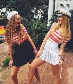 Pin for Later: Cheap Halloween Costumes That Will Love Sailors These cute and creative millennial costume ideas are cheap and easy to make. Get your 2019 Halloween party inspiration now! Sailor Costume Diy, Sailor Halloween Costumes, Easy Halloween Costumes For Women, Cute Costumes, Disney Halloween, Woman Costumes, Group Costumes, Haloween Costumes 2017, 2 People Costumes