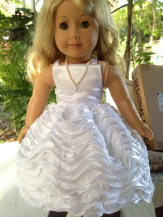 Poofy Dress American Girl Doll Clothes First by LaurasBitsofLace, $60.00