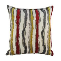Sherry Kline Waves Yellow Red 24-inch Throw Pillow