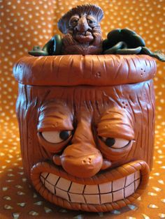 Pumpkin Jack O Lantern Polymer Clay Jar