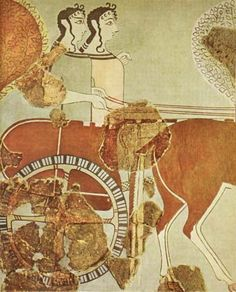 "Wall painting, ""Mykenaean ladies"" in a chariot hunt from the palace of Tyrinth, 13th century BC."