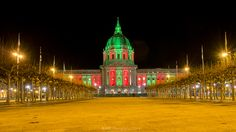 San Francisco City Hall all dressed up in Christmas colors.