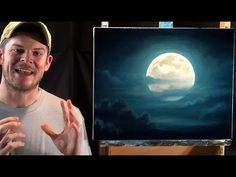 Full moon painting acryl, oil, tutorial, how to paint Night Landscape, Landscape Paintings, Sky Painting, Painting Demo, Abstract Painting, Acrylic Painting For Beginners, Night Sky Painting, Full Moon, Acrylic Painting Canvas