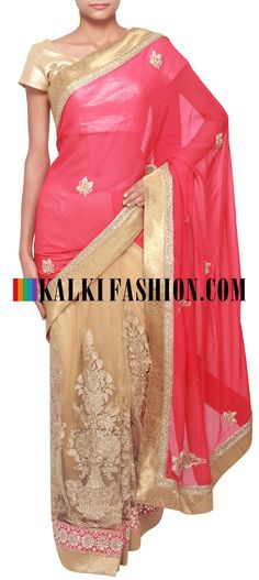 Get this beautiful saree here: http://www.kalkifashion.com/half-and-half-saree-in-pink-and-beige-only-on-kalki.html Free shipping worldwide. #50ShadesOfGold
