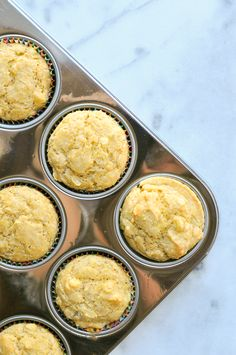 Superfood Cornbread Muffins -- with avocado, coconut oil, and eggs! The perfect side for a bowl of chili this fall. // via Nosh and Nourish