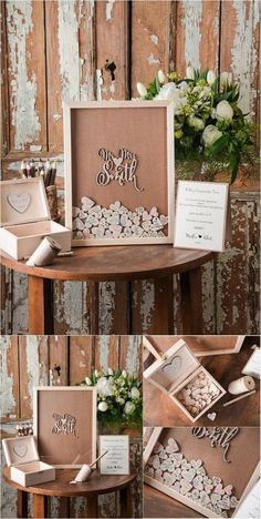 Rustic Laser Cut Wood Wedding Guest Book-Mr&Mrs Smith / http://www.deerpearlflowers.com/rustic-wedding-guest-books-botanical-wedding-invitations/