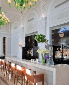 Grand Hotel du Cap-Ferrat- design details, green chandelier, Chinois cabinets, bar