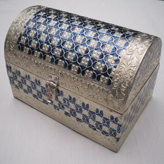 Silver and Blue metal embossed 'Treasure Chest' box