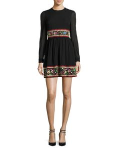 RED Valentino Long-Sleeve Stretch-Silk Dress w/ Garden Embroidery, Black