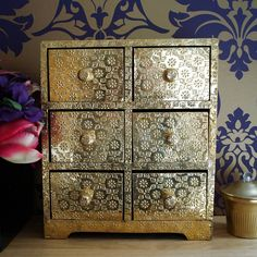 Small Gold Decorative Chest Of Drawers #bling
