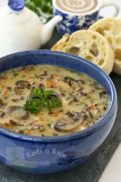 A hearty creamy soup made with cooked chicken, nutty wild rice, and mushrooms. It is a bowl of comfort any time of the year. #wildrice #soup #comfortfood