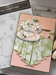 StampinWithJulianne Stampin Up : Live crafting featuring Tea Together Stamp Set and. Fancy Fold Cards, Folded Cards, Happy Mother's Day Card, Coffee Cards, Stamping Up Cards, Fathers Day Cards, Homemade Cards, Making Ideas, Cardmaking