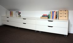 great idea for a console, Ikea Stolmen drawer units on casters