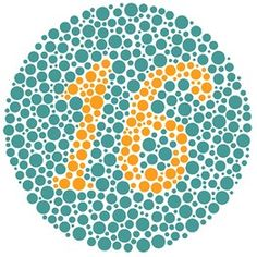 Even people who are color blind should be able to see a 16 in this demonstration plate. by testingcolorvision.com via wsj #Color_Vision_Test
