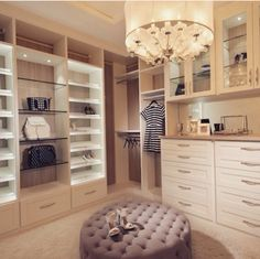 Turn your walk-in closet into a true dressing room with a seating option.