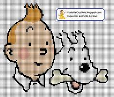 Encontrado en puntodecruzweb.blogspot.com.es             Tintin & Milou perler bead pattern