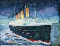 RMS Titanic 2015  8 x 10, 9 x 12, 11 x 14, 16 x 20, or 18 x 24  This listing is for a PRINT of a watercolor painting of the Titanic. I worked from a collaboration of black and white photographs of the ship and then oil paintings of it to get the colors right. But this was done in classic watercolor style. Vibrant color and lines of bright lights make up this beautiful tribute. The frosty night sky is captured in the horizon mist.  ♥ Prints are made from the original watercolor.  ♥ They are…