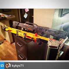 Our #propmaster ROCKS. Nurf gun turned movie prop, Before and after #shooting #film #indiefilm #props #set #shoot #nurfgun #action #La #work #fun #painting #director #filmmaker #moviemaking #guns #toys #set #production #artist @kykyv71