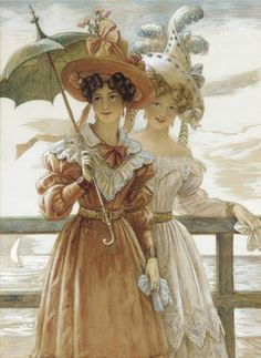 Curls, plumed hats, wide necklines, puffed sleeves, tightly cinched waists and full skirts.  Painting by Wilhelm Menzler