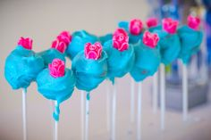 Flower adorned cake pops from Pretty Princess Cinderella Birthday Party at…