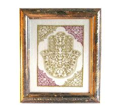 Framed  Hamsa Yemenite Filigree Embroidery  Style ---use this border shape