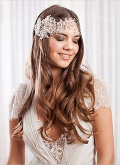 headpieces, headband, down, glamorous , headbands, retro, rhinestone, silver, tulle, gold, grey, light pink, makeup, natural, woodland, sparkly, elegant