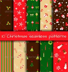 Set of 10 Seamless Christmas Patterns — Vector EPS #decoration #set • Available here → https://graphicriver.net/item/set-of-10-seamless-christmas-patterns/6301834?ref=pxcr