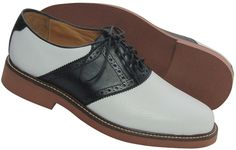 Oxford black and white saddle shoes by Crick and Watson.