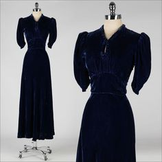 vintage 1930s dress . sapphire blue silk by millstreetvintage, $145.00