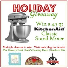 Enter this contest to win a KitchenAid Mixer and follow this blog on facebook if you like southern cooking.